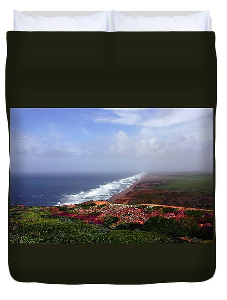 Flowering Beach Point Reyes Lighthouse Bodega Bay Duvet Cover