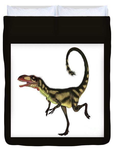 Dilong Dinosaur Profile Duvet Cover by Corey Ford