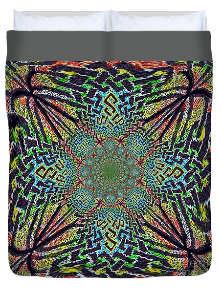 Duvet Cover featuring the painting Dimensional Celtic Cross by Hidden Mountain