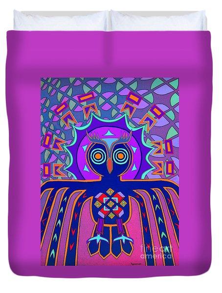 Dimensional Owl Duvet Cover by Ed Tajchman