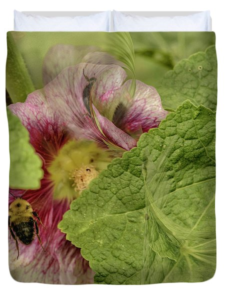 Dimensions Of Bees_flowers Duvet Cover