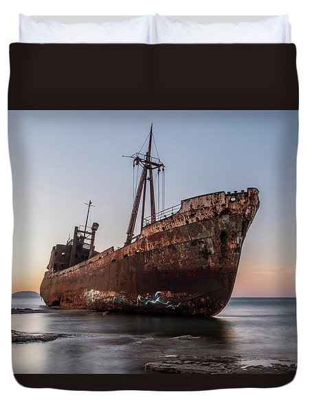 Dimitrios Wreck On The Beach Duvet Cover