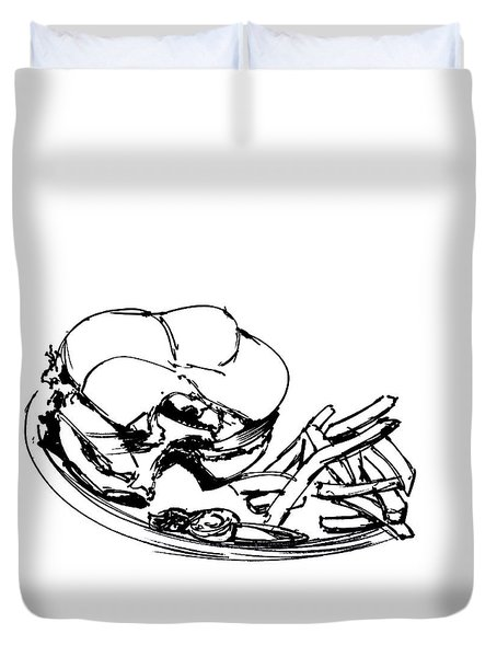 Diner Drawing Charbroiled Chicken 2 Duvet Cover by Chad Glass