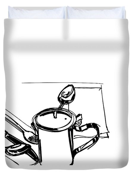 Diner Drawing Creamer 2 Duvet Cover by Chad Glass