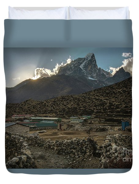 Duvet Cover featuring the photograph Dingboche Evening Sunrays by Mike Reid