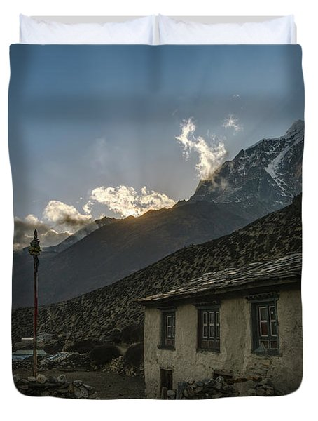 Duvet Cover featuring the photograph Dingboche Nepal Sunrays by Mike Reid
