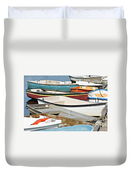 Dinghys At Bearskin Neck Duvet Cover by Joe Faherty