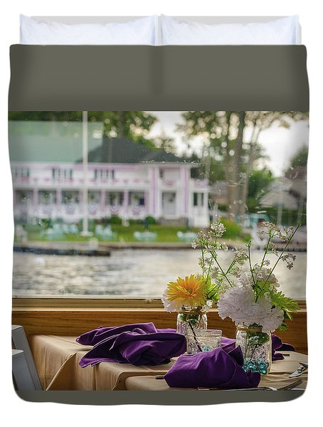 Dining Aboard The Miss Lotta Duvet Cover by Maureen E Ritter