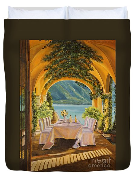 Dining On Lake Como Duvet Cover by Charlotte Blanchard