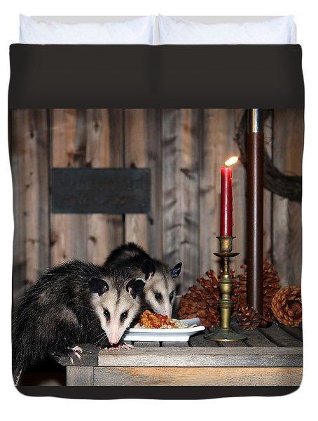 Dining Possums I Duvet Cover