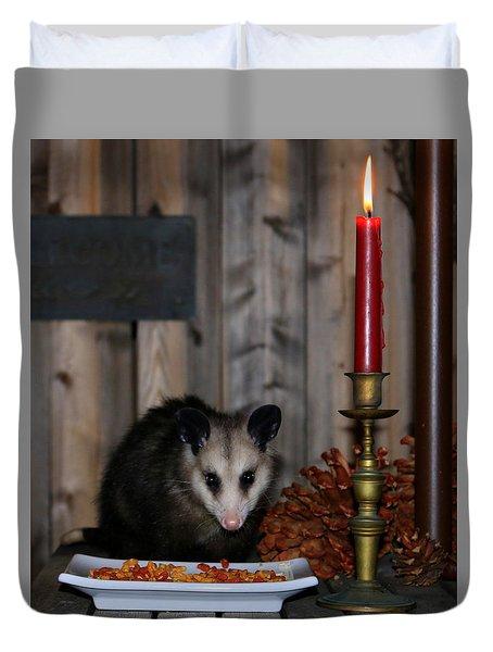 Dining Possums II Duvet Cover