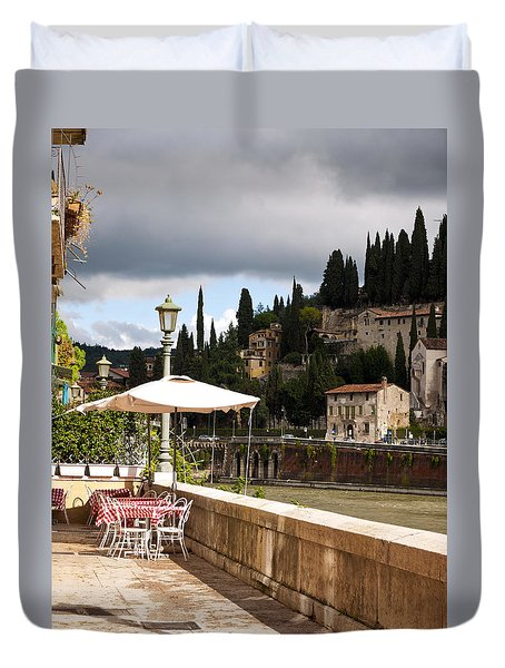 Dining With A View Duvet Cover by Rae Tucker