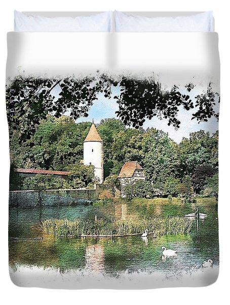Dinkelsbuhl - Rothenburg Pond Duvet Cover