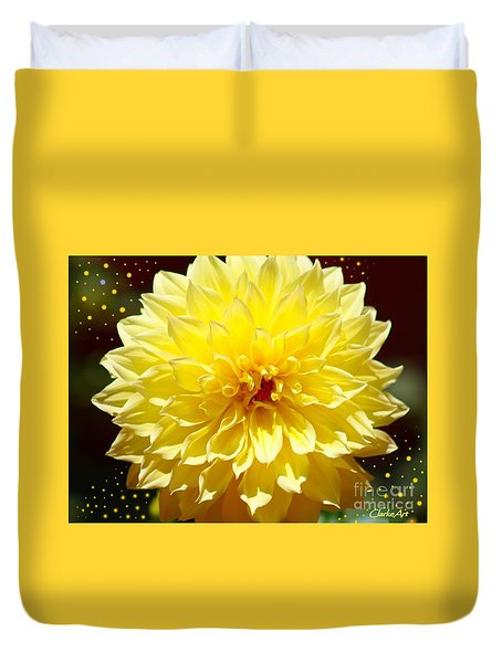Dinner Plate Dahlia In Starry Sky Duvet Cover