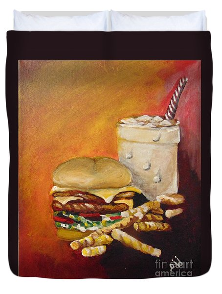 Duvet Cover featuring the painting Dinner Time by Saundra Johnson