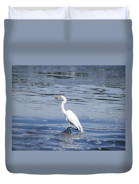Dinnertime Pelican Duvet Cover
