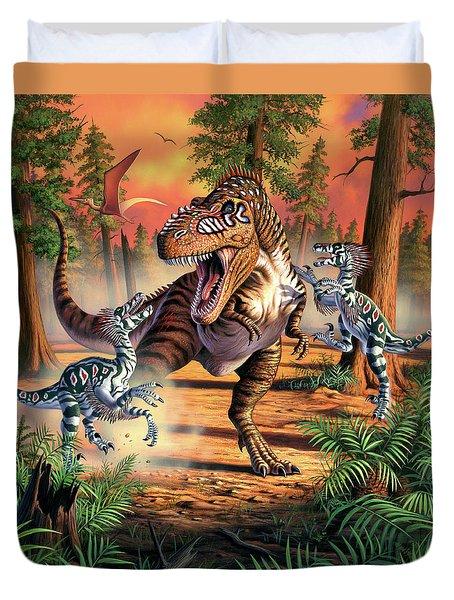 Dino Battle Duvet Cover