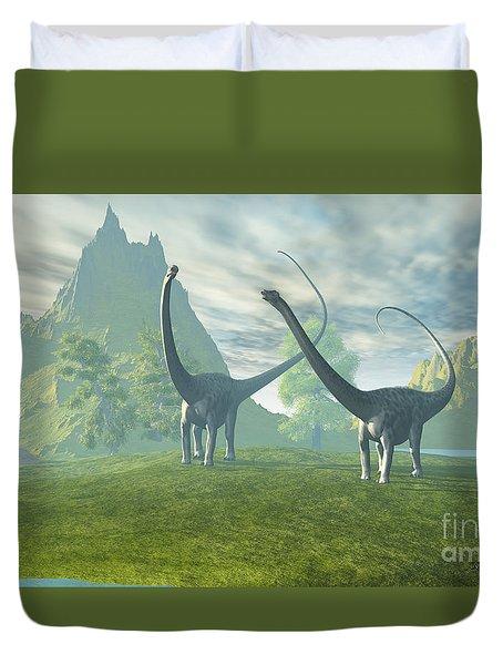 Dinosaur Land Duvet Cover by Corey Ford