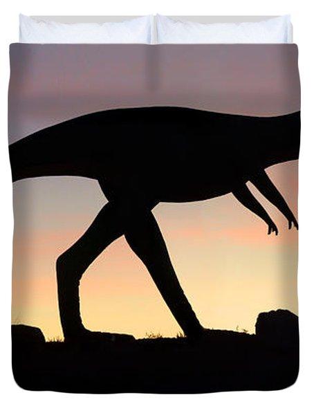 Dinosaur Loose On Route 66 Duvet Cover