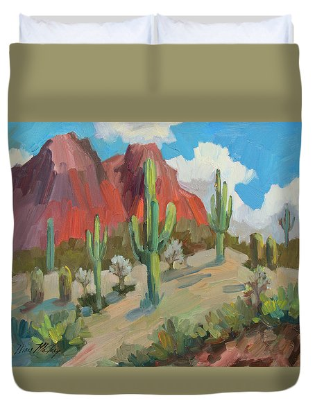 Duvet Cover featuring the painting Dinosaur Mountain by Diane McClary