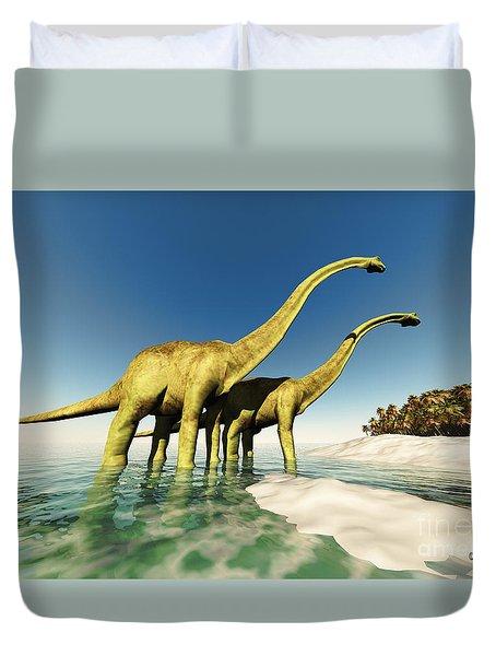 Dinosaur World Duvet Cover by Corey Ford