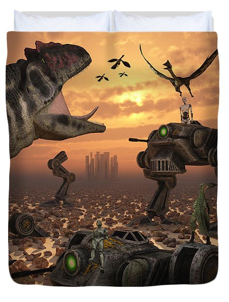 Dinosaurs And Robots Fight A War Duvet Cover by Mark Stevenson