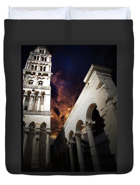 Duvet Cover featuring the photograph Diocletian's Home by Danica Radman