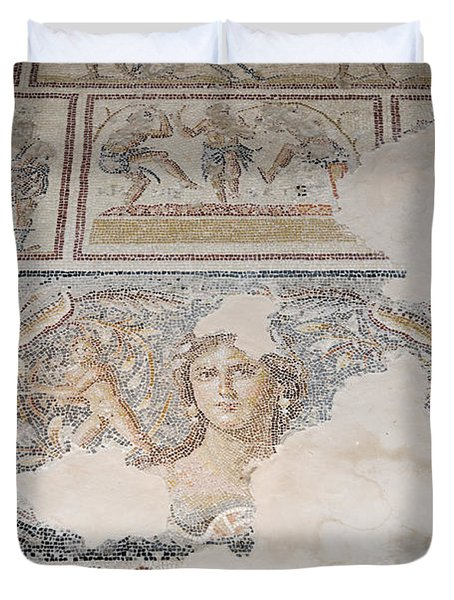Dionysus Mosaic Mona Lisa Of The Galilee Duvet Cover