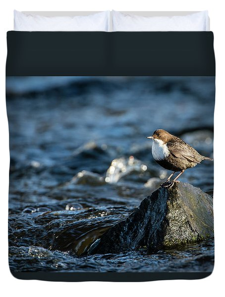 Dipper On The Rock Duvet Cover by Torbjorn Swenelius