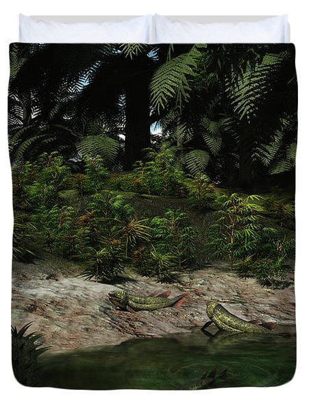 Dipterus Fish Emerge From A Devonian Duvet Cover by Walter Myers