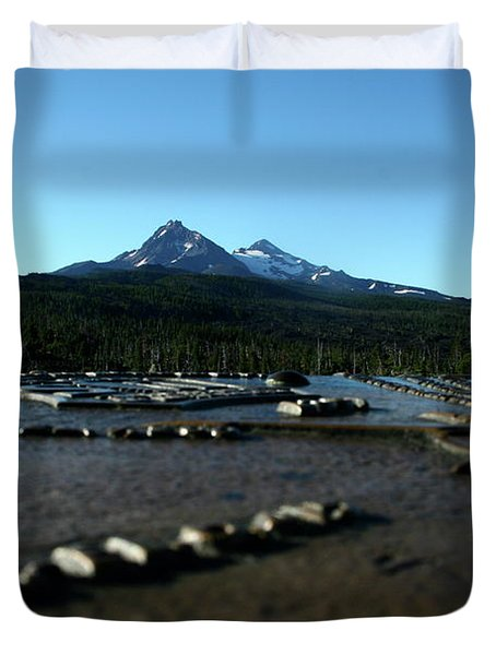 Duvet Cover featuring the photograph Directional Points by Laddie Halupa