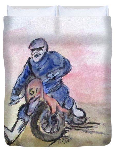 Dirt Bike Racer Duvet Cover