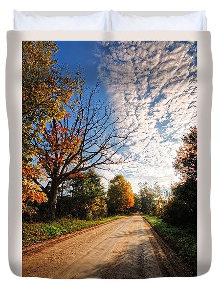 Duvet Cover featuring the photograph Dirt Road And Sky In Fall by Lars Lentz