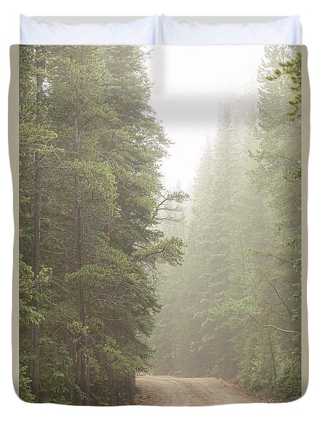 Duvet Cover featuring the photograph Dirt Road Challenge Into The Mist by James BO Insogna