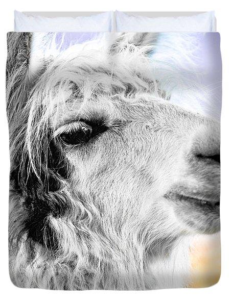 Duvet Cover featuring the photograph Dirtbag Llama by TC Morgan