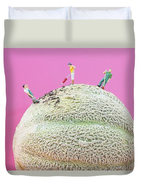 Duvet Cover featuring the painting Dirty Cleaning On Sweet Melon II Little People On Food by Paul Ge
