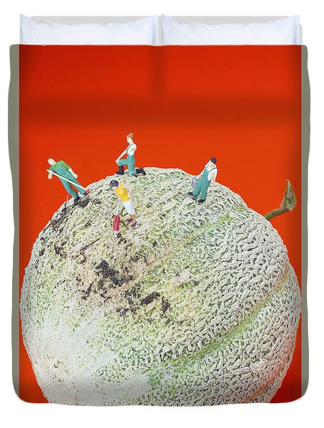 Duvet Cover featuring the painting Dirty Cleaning On Sweet Melon Little People On Food by Paul Ge