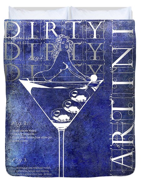Dirty Dirty Martini Patent Blue Duvet Cover by Jon Neidert