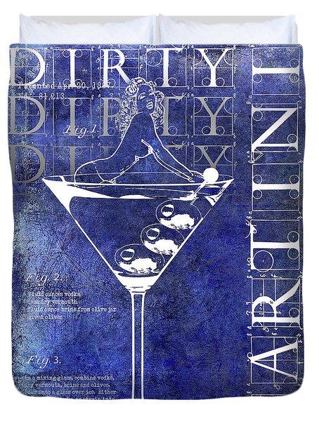 Dirty Dirty Martini Patent Blue Duvet Cover by Jon Neidert