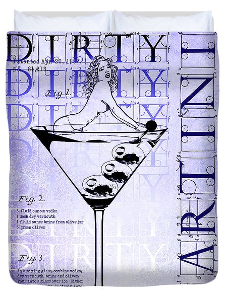 Dirty Dirty Martini Patent Blueprint Duvet Cover by Jon Neidert