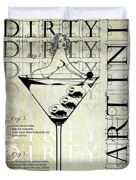 Dirty Dirty Martini Patent Duvet Cover by Jon Neidert