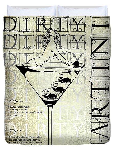 Dirty Dirty Martini Patent Duvet Cover by Jon Neidert