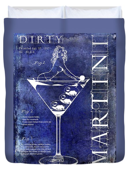 Dirty Martini Patent Blue Duvet Cover by Jon Neidert