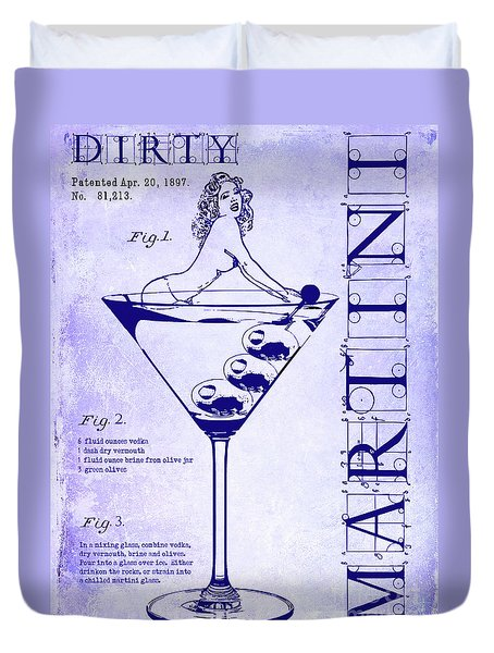 Dirty Martini Patent Blueprint Duvet Cover by Jon Neidert