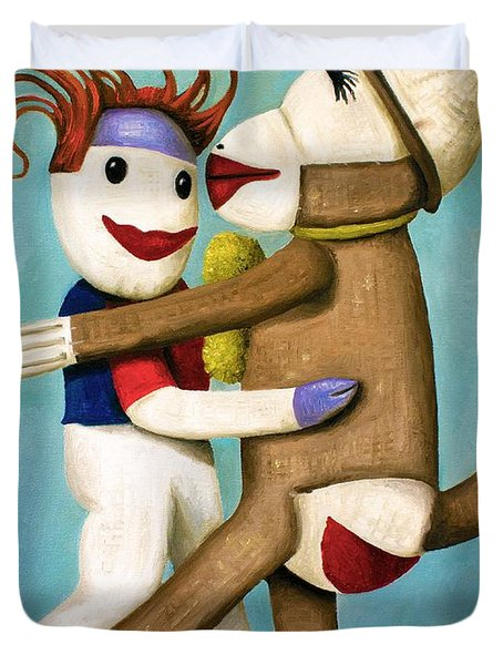 Dirty Socks Dancing The Tango Duvet Cover by Leah Saulnier The Painting Maniac