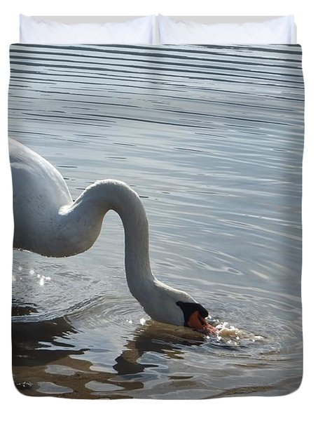 Duvet Cover featuring the photograph Dirty Swan by Marc Philippe Joly