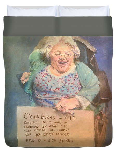 Disability Protester Remembers Cecilia Burns Duvet Cover