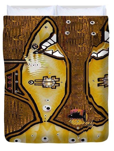 Disco Sharks Duvet Cover by Pepita Selles