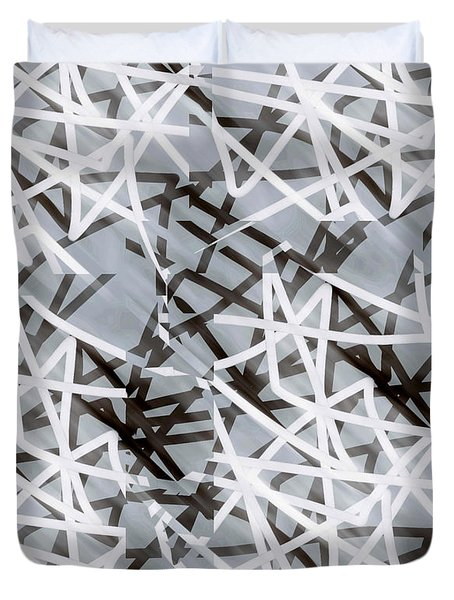 Disconnect - Abstract Art  Duvet Cover by Ann Powell