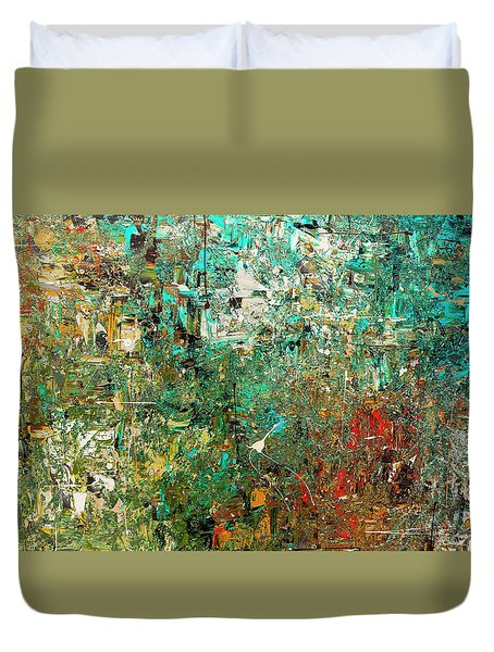 Duvet Cover featuring the painting Discovery - Abstract Art by Carmen Guedez